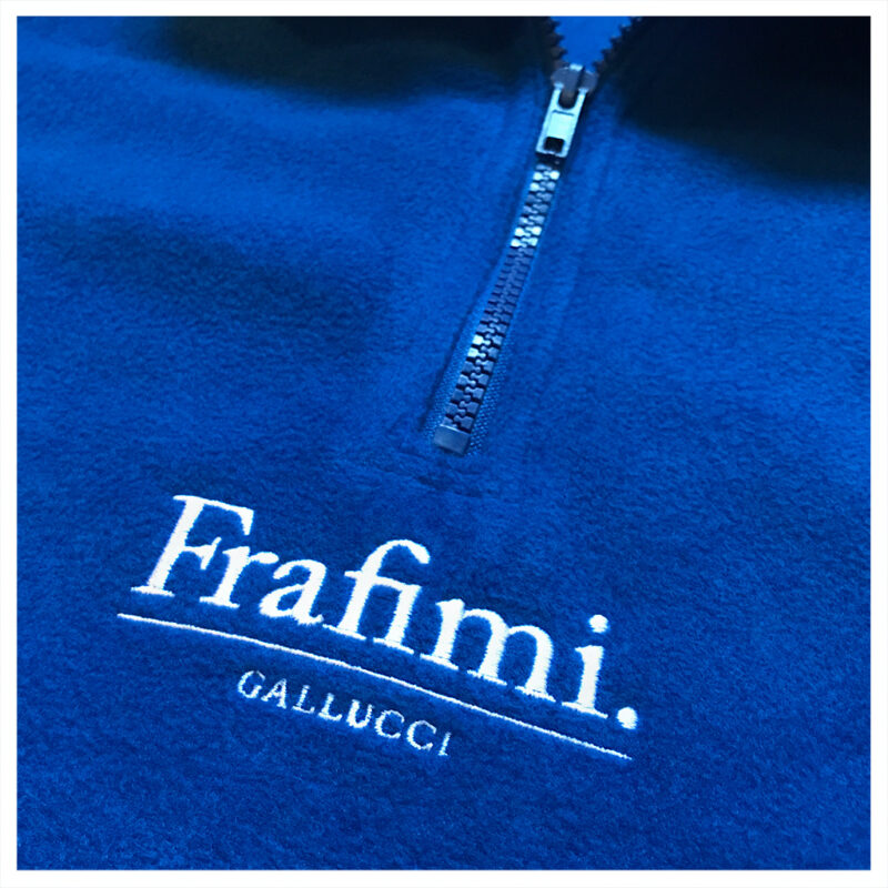 Embroidered Logo Fleece – Cobalt Blue (Detail)
